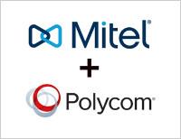 Mitel + Polycom logo graphic